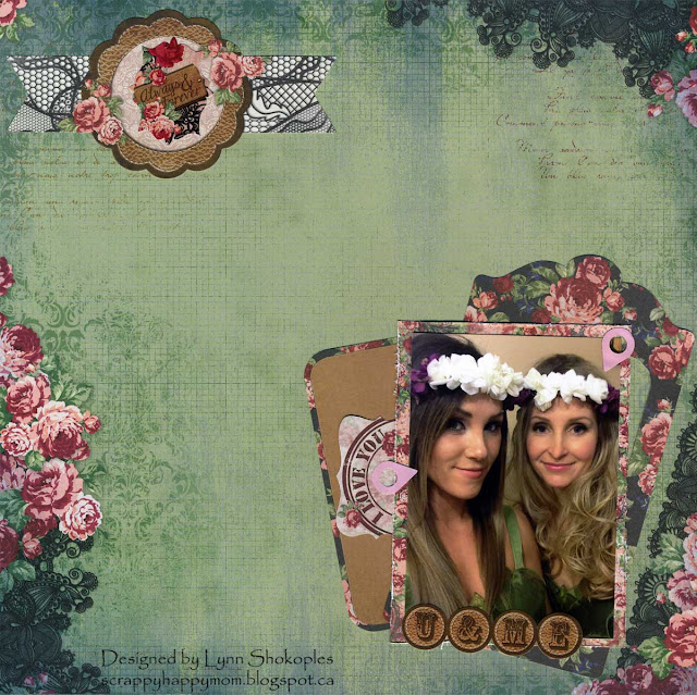 Besties layout by Lynn Shokoples for BoBunny featuring the Love and Lace Collection and Glitter and Foil Locale Stickers.