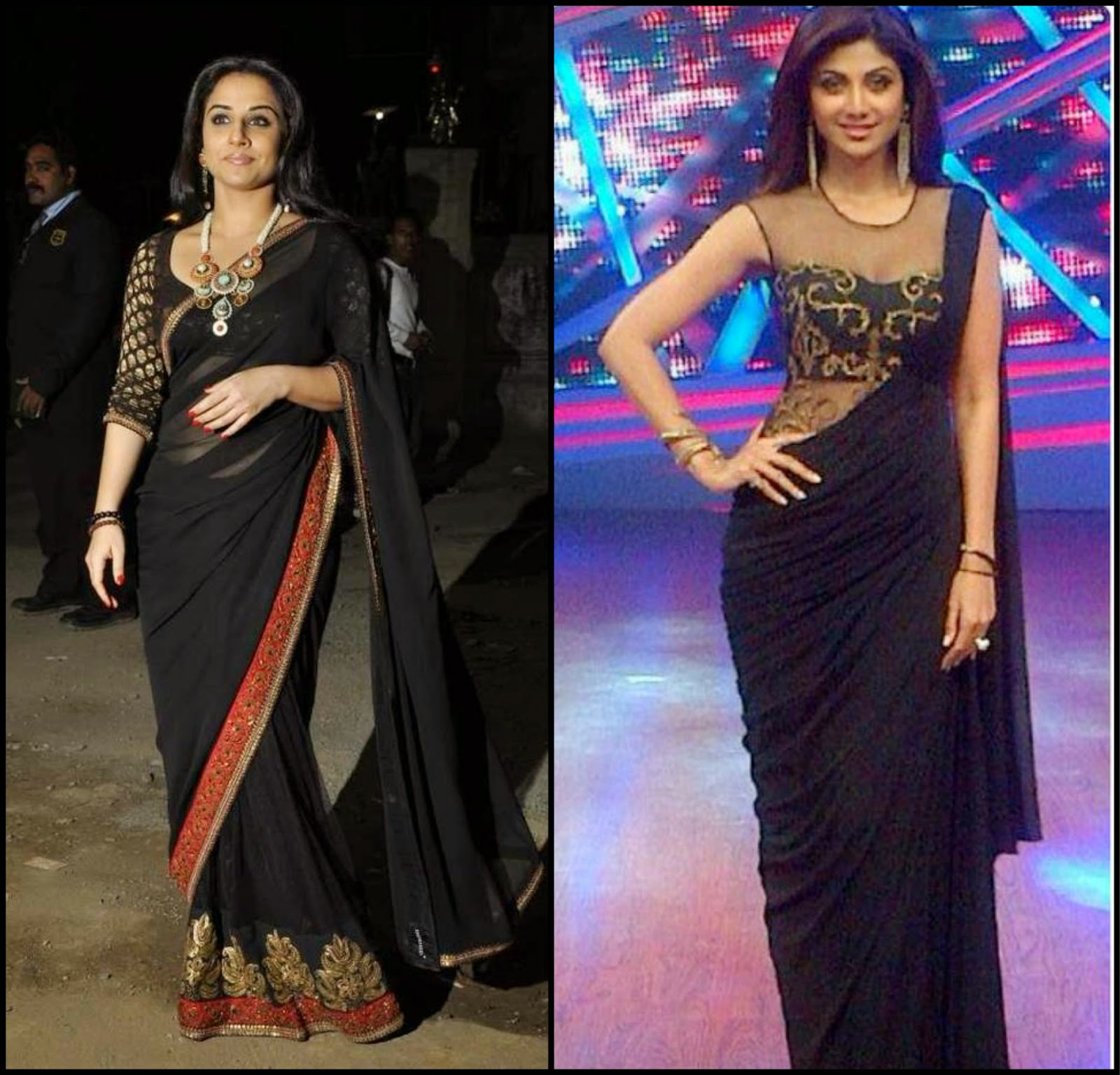 Vidhya and Shipla in Black saree, Vidhya in sabyasachi black saree, shilpa in sonakhsi raaj saree, celebs in black saree