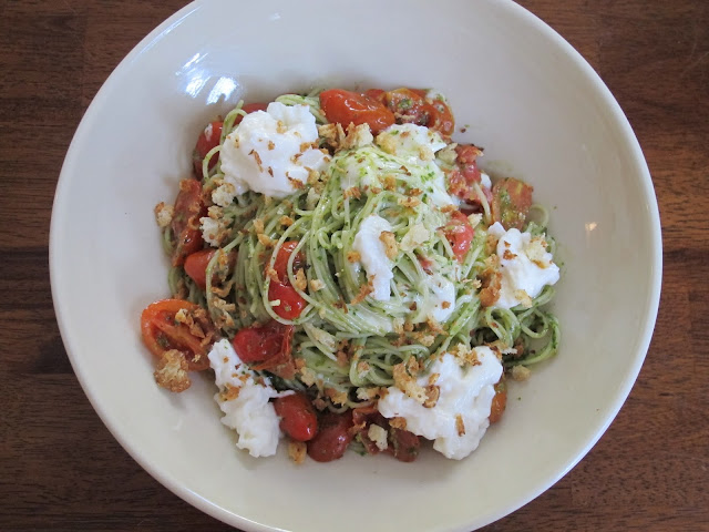 Pesto Pasta with Tomatoes, Burrata, & Breadcrumbs