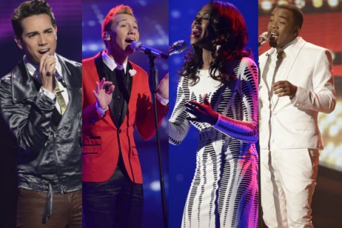Devin Velez (second from left) is eliminated in American Idol 12 Top 8 results show, March 28