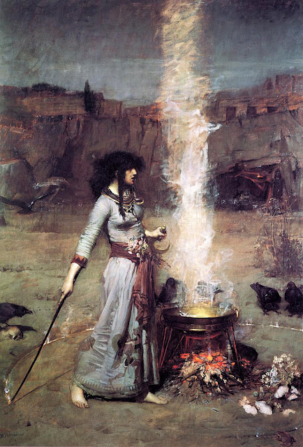 """The Magic Circle"" John William Waterhouse (1886) Morgan Le Fey, barefoot witch at cauldron, autumn fine art creepy"
