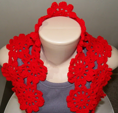 Venda - Cachecol Scarf Red Flowers Circles