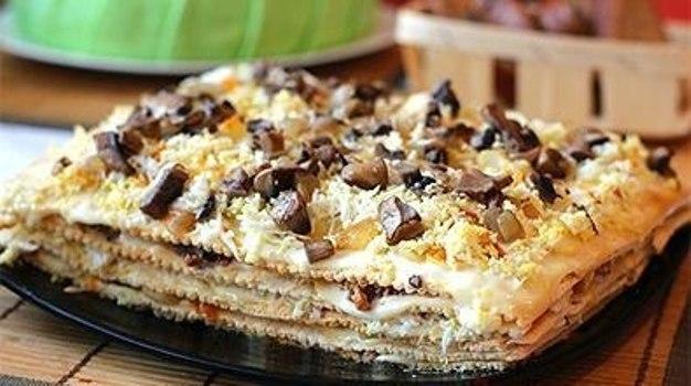 Закусочный торт наполеон с сардиной рецепт