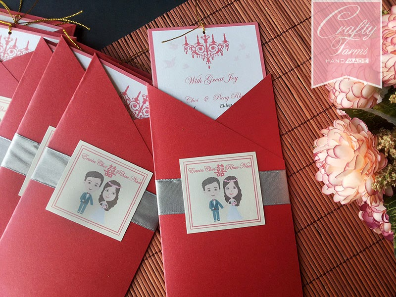 cartoon wedding card, oriental chinese theme wedding card, pocket wedding card