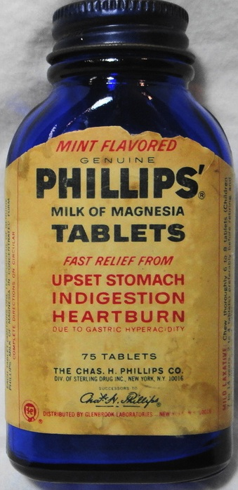 "dating phillips milk of magnesia bottle Exact period of use is uncertain, but verified on the base of cobalt ""milk of magnesia"" bottle from circa 1950 most maryland bottles, if."