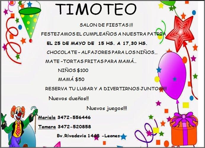 ESPACIO PUBLICITARIO: TIMOTEO