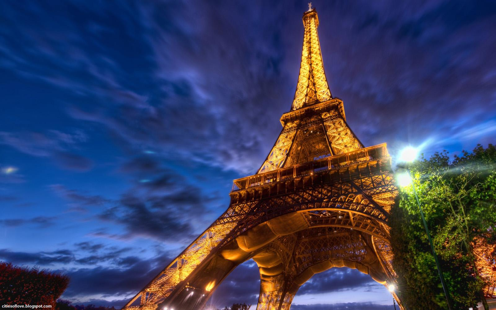 Paris Eiffel Tower At Night The Beautiful French Iron Lady France Hd Desktop Wallpaper