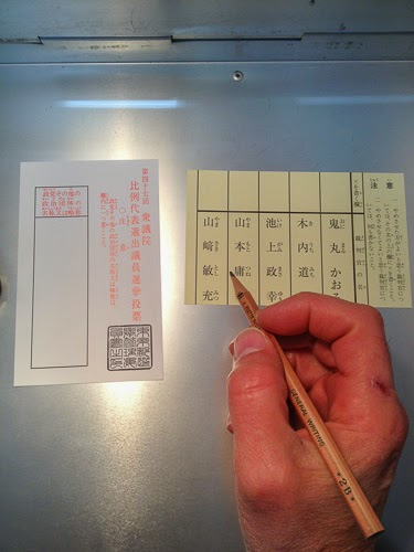 Political party voting form and supreme court judge voting form, Asakusabashi, Tokyo.