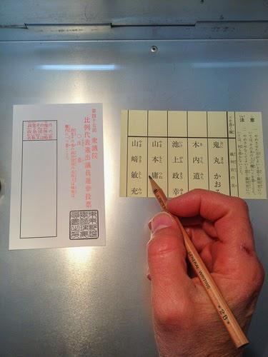 Political party voting form and supreme court judge voting form, Asakusabashi, Tokyo.