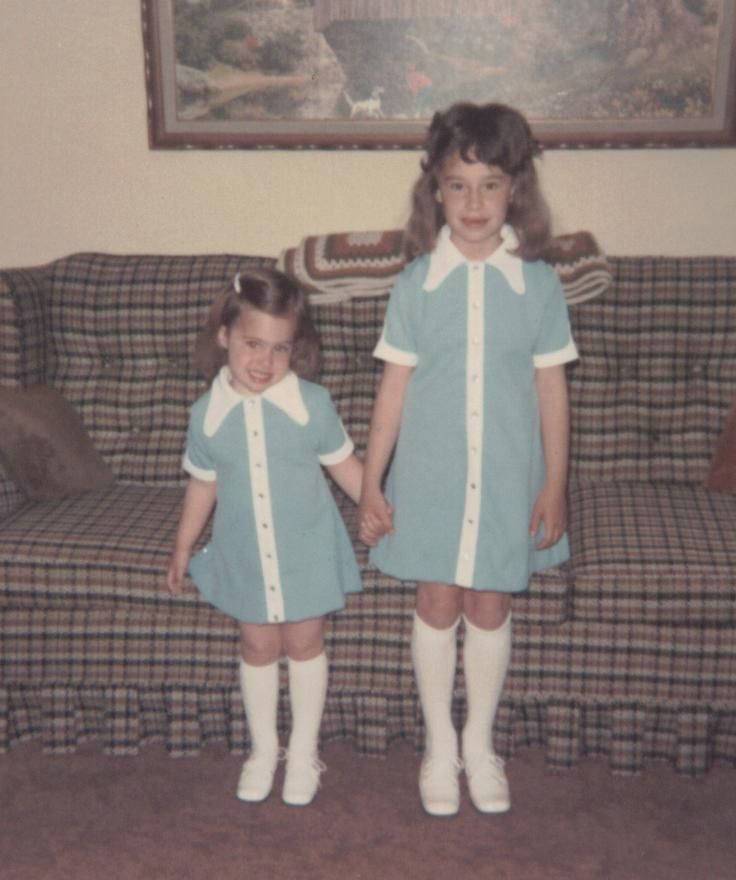 Sisters in matching outfits. Circa 1973