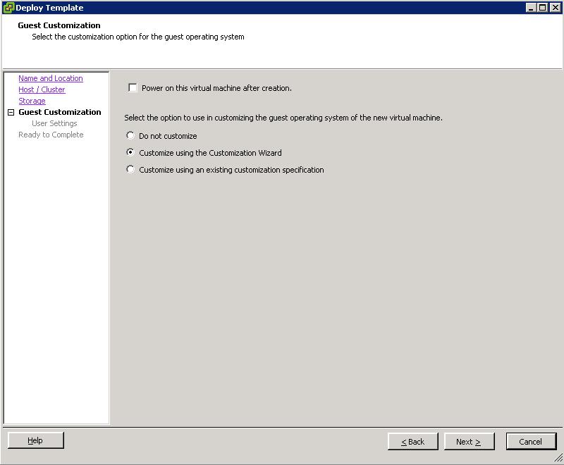 Yeonki\'s Cloud: Deploying VM from Template VMware 5