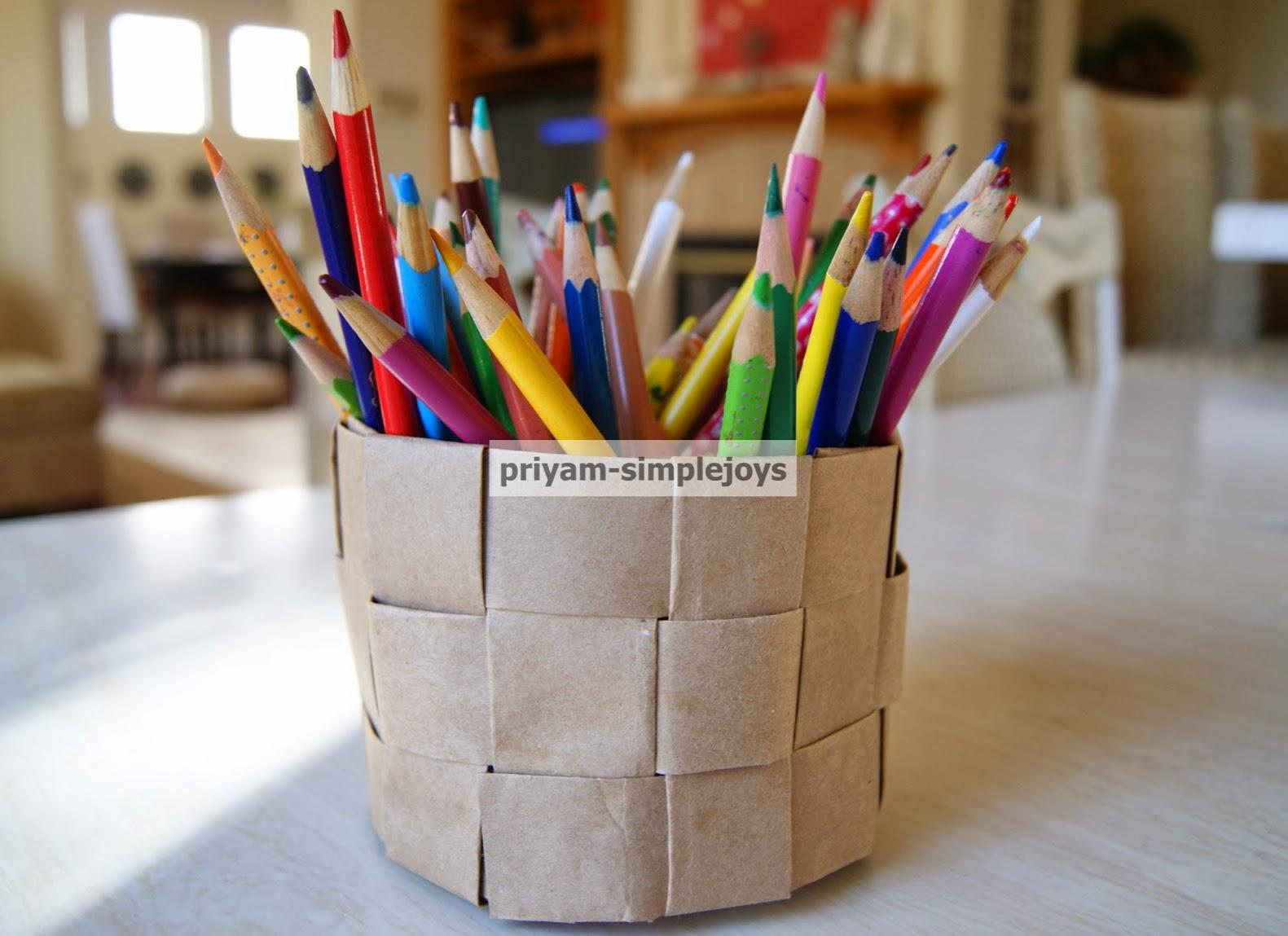 Basket Making Using Newspaper : Simplejoys round brown paper basket