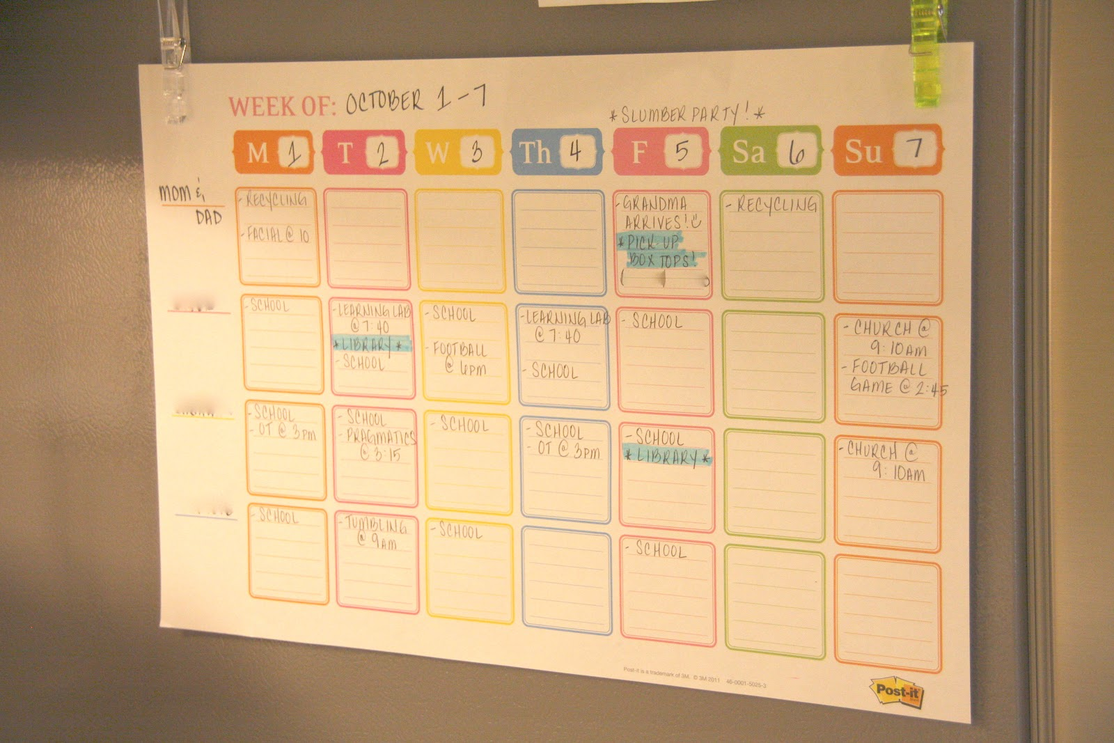 Simple Weekly Family Organizer Simply Organized - Post it note calendar template