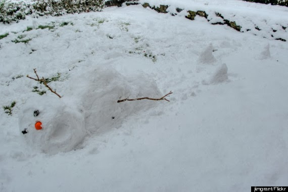A snowman escaping death by snowshark.