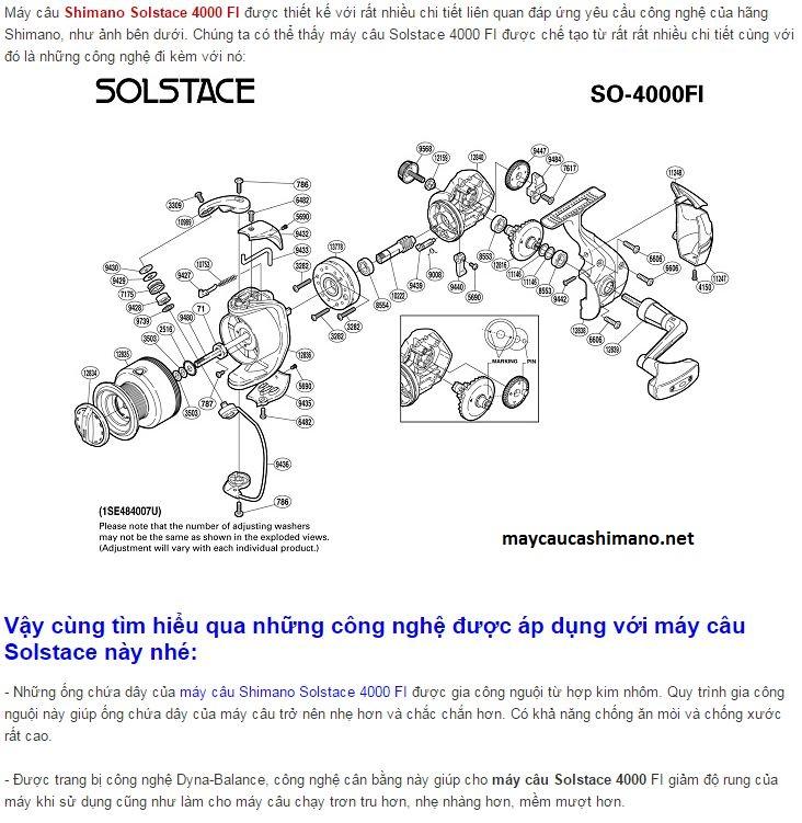 Tính năng của máy câu Shimano Solstace 4000 FI