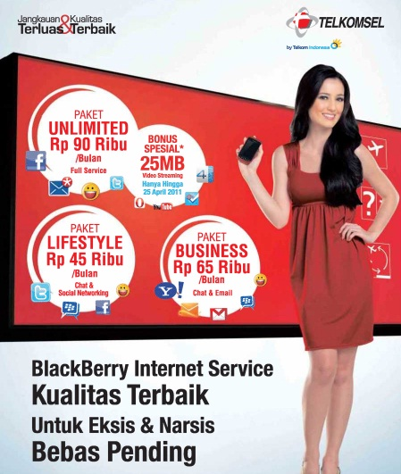 Paket Internet BlackBerry dari Telkomsel. Cara registrasi BlackBerry Internet Service Telkomsel.
