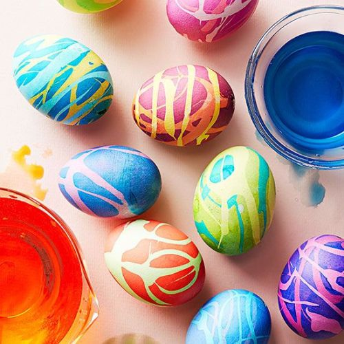 colorful drizzled Easter eggs