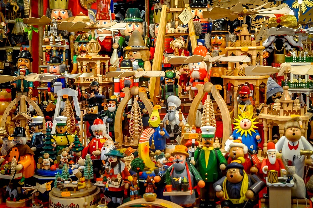 Brightly-colored smokers, nutcrackers and wooden toys