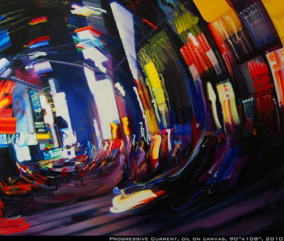Alexandra Pacula pintura luzes da noite da cidade borradas velocidade