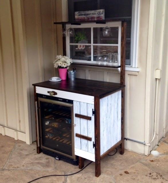 Custom Beverage Bar - built for outdoor wine refrigerator
