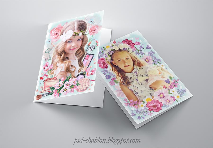 Шаблоны девочек для открыток 185