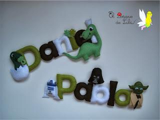 nombre-fieltro-Pablo-Daniel-Star-Wars-Dinosaurios-decoración-infantil