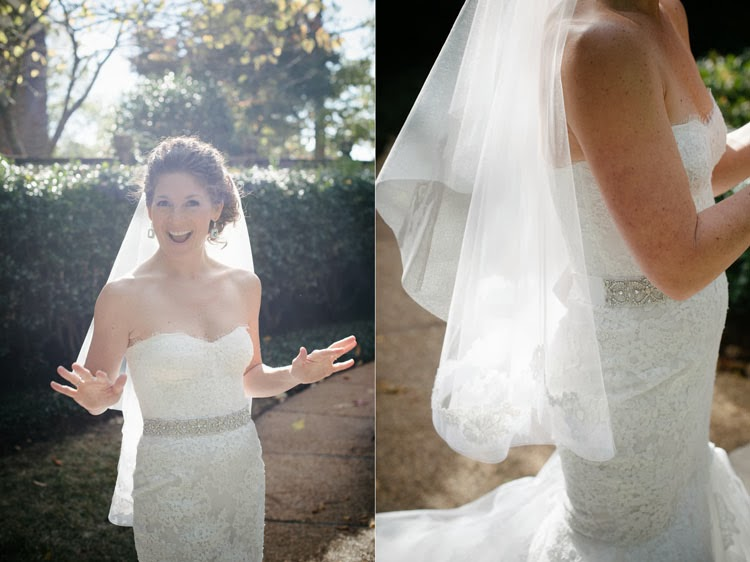 bride smiling and glowing in the sunshine