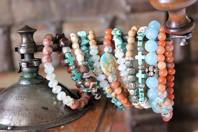 Layered Stacked Boho Bracelets Bohemian Stretch Stone Gemstone Cross Turquoise Bone Earthy Neutral Hippie Stacking Arm Party Arm Candy