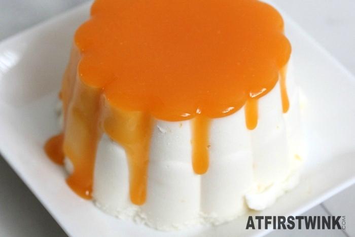 Mona Spanish tangerine with orange sauce on plate