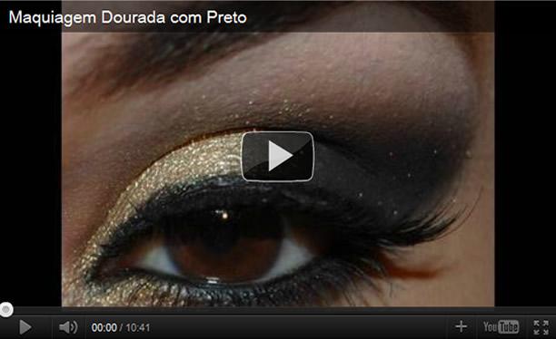 corretas de preto com dourado nesta maquiagem para festas
