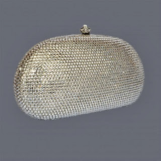 Oval Shape Clutch with Silver Swarovski