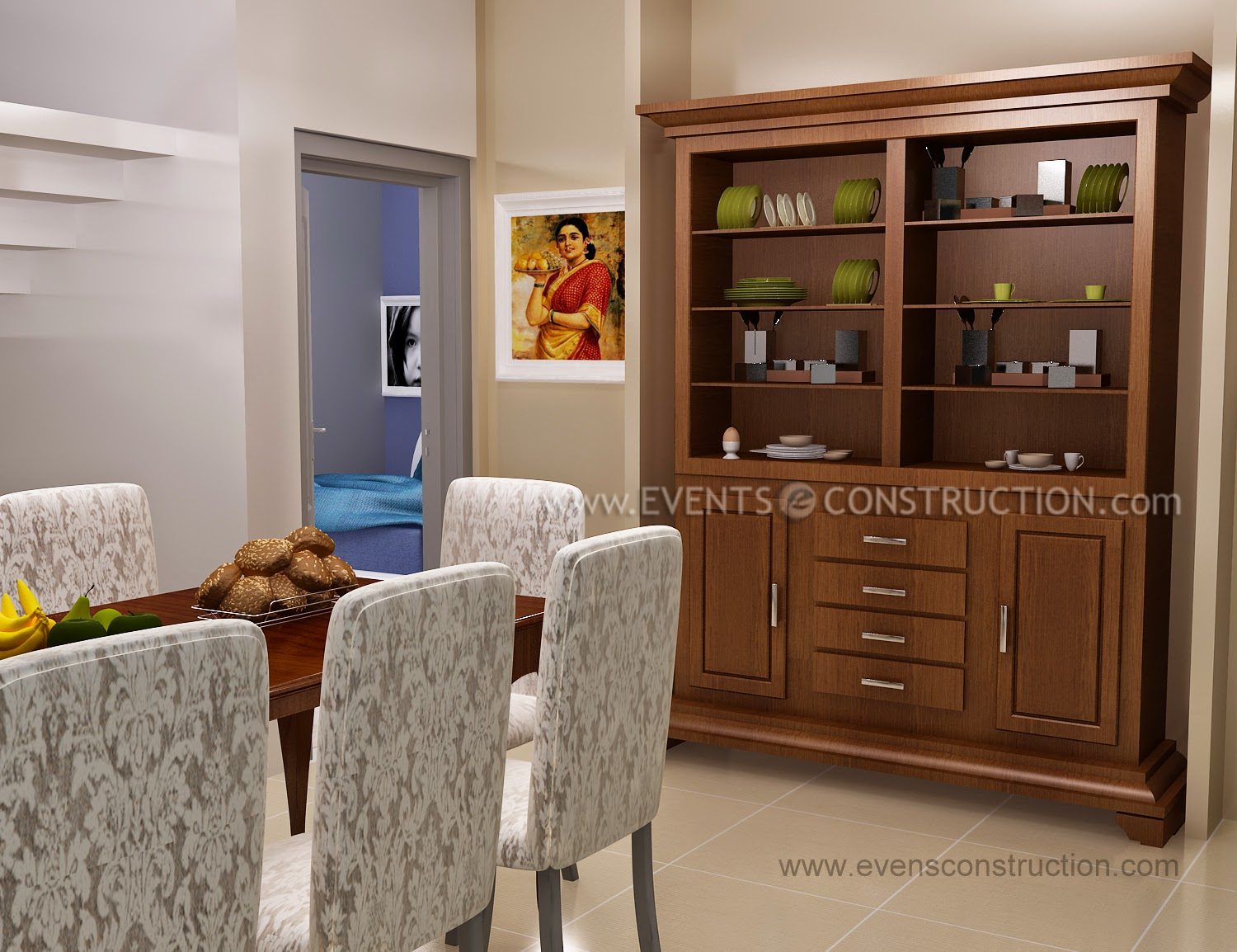 Simple Kerala Dining Room With Crockery Shelf