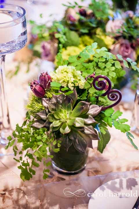 Northwest inspired wedding reception flowers