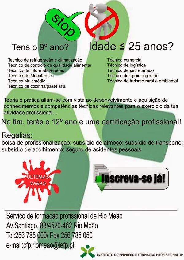 Cursos de aprendizagem subsidiados com equivalência ao 12º ano – Rio Meão