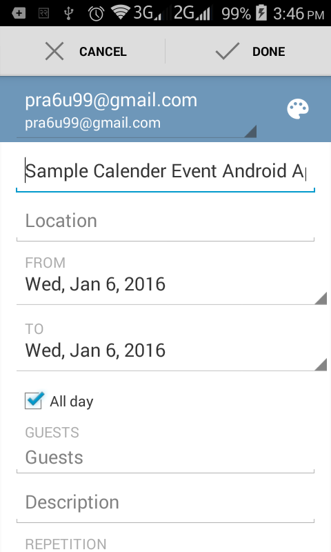 Android Example: How to Add Calendar Event in Android App