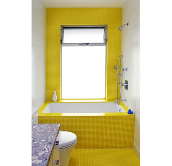 To da loos tub base tuesday sunny yellow tiled for Small bathroom yellow