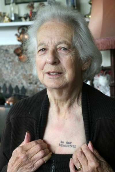 Joy Tomkins with 'Do Not RESUSCITATE' tattoo