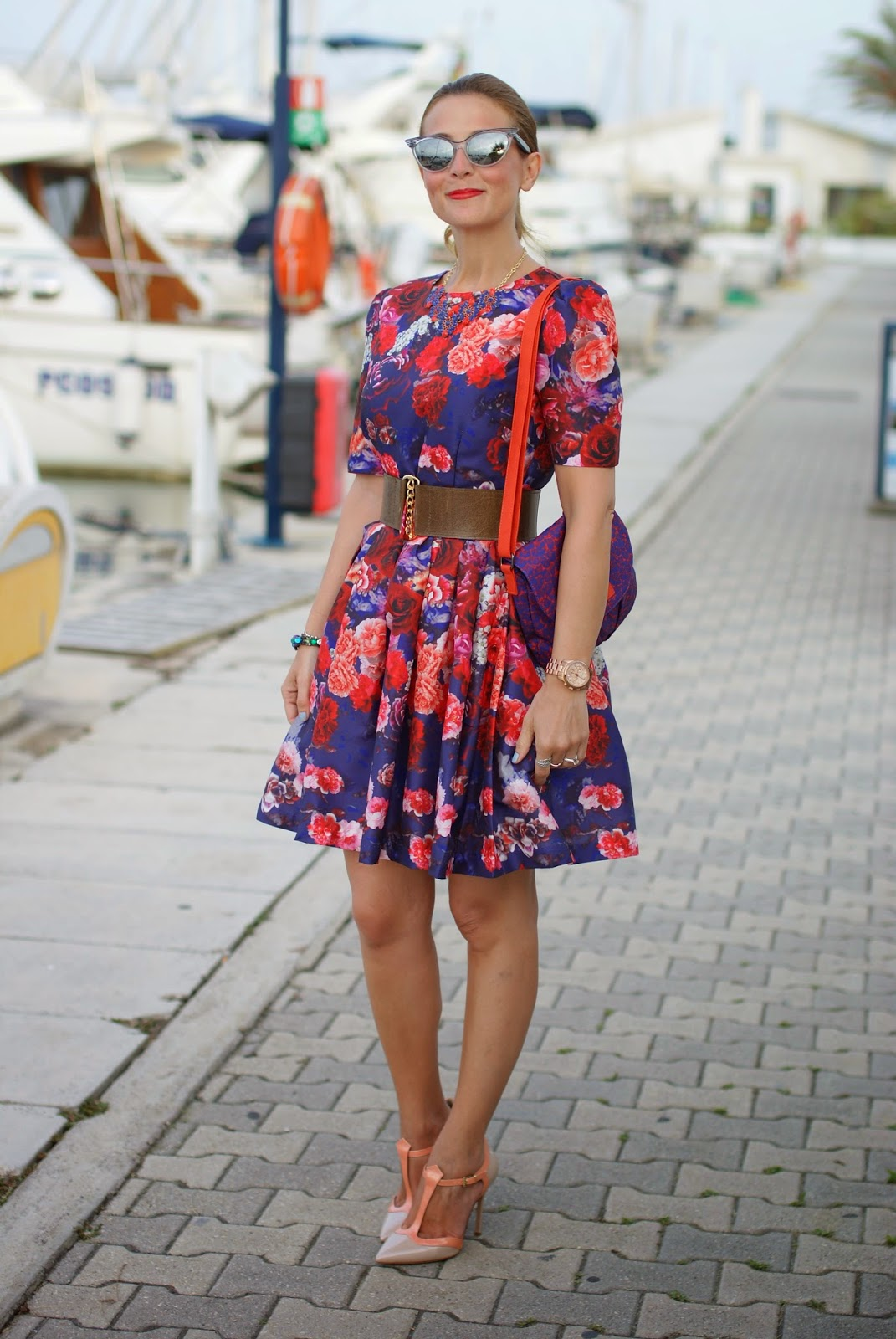red and purple roses dress, sergio levantesi shoes, Fashion and Cookies, fashion blogger