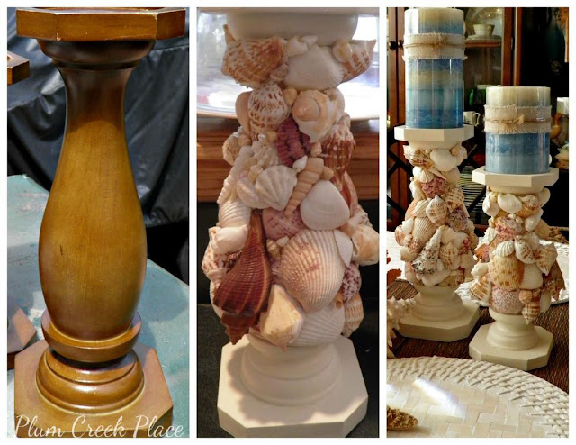 DIY shell encrusted candle sticks - Plum Creek Place