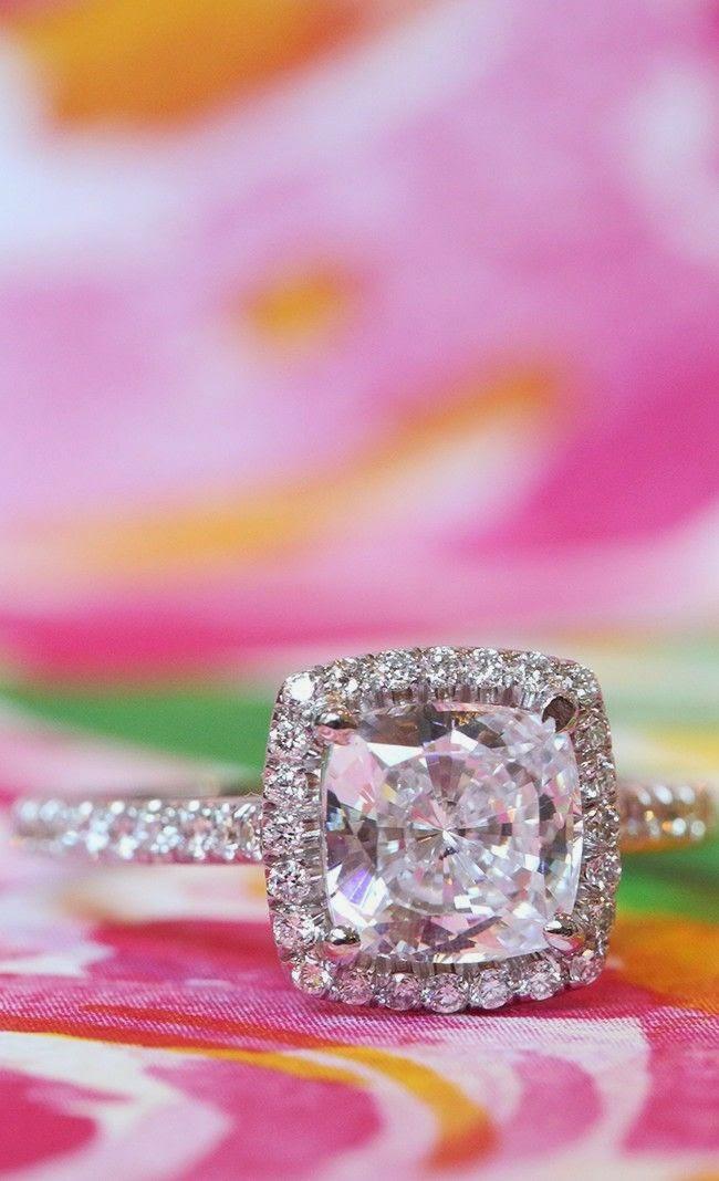 White Gold Pave Set Engagement Ring