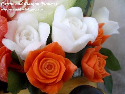 carrot garnish rose carving