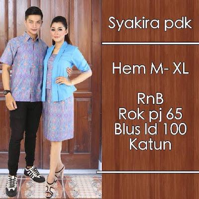 Baju Sarimbit Batik Pasangan Syakira Biru Muda