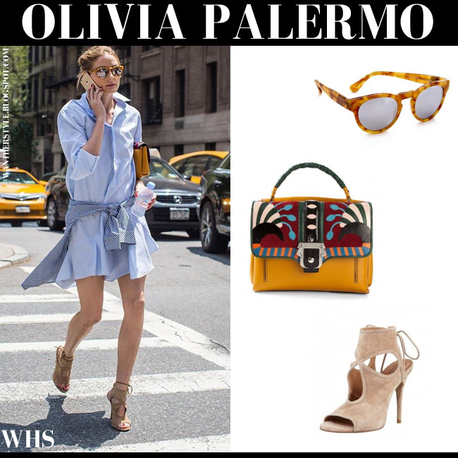 Olivia Palermo in light blue mini shirt dress, beige suede Aquazzura Sexy Thing sandals, mustard Paula Cademartori bag and mirrored Westward Leaning Voyager sunglasses what she wore june 2015