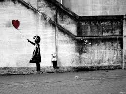 little girl, heart, balloon, hope, there is always hope, concrete
