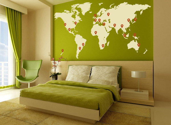 Living room world map interior wall art stickers design design nex - Interior wall designs for living room ...