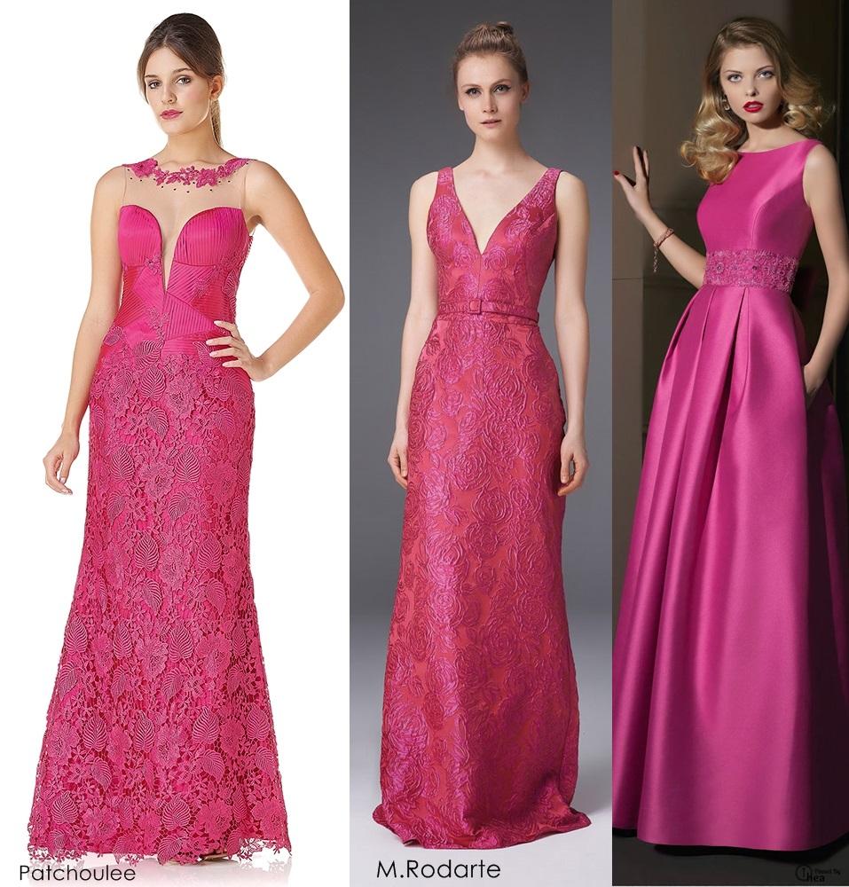 Vestido de renda rosa de madrinha