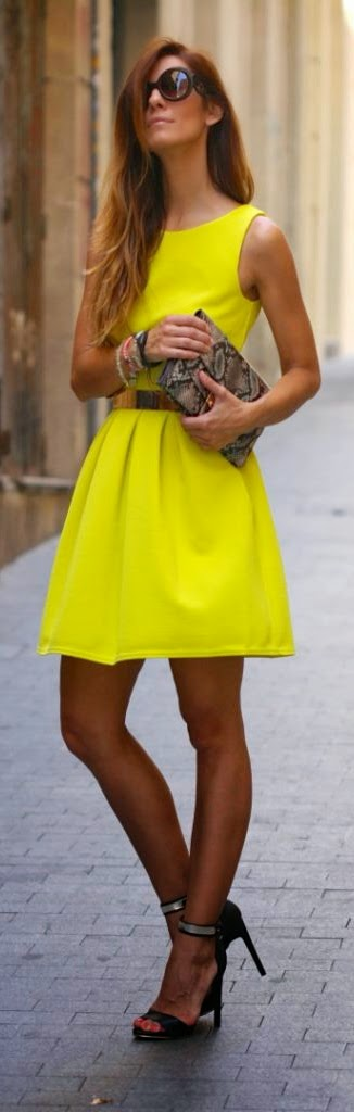 Bright Yellow Sleeveless Mini Dress with Clutch Purse and Black Heels | Summer Outfits