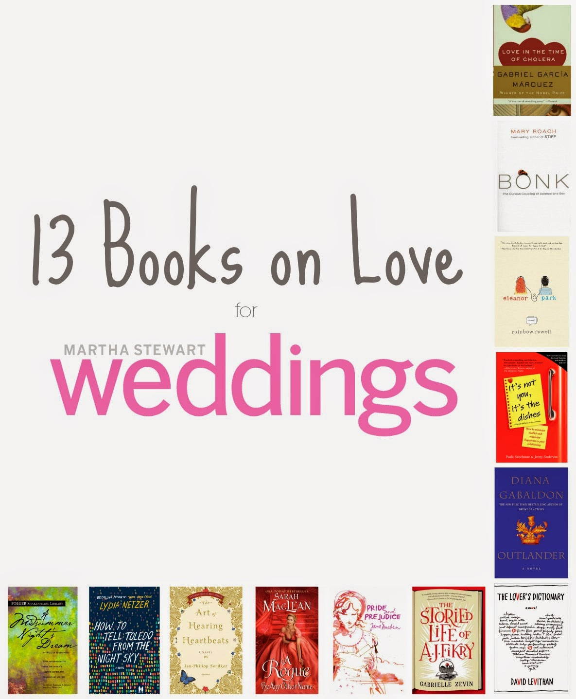books on love, romance books, romantic books, martha stewart weddings
