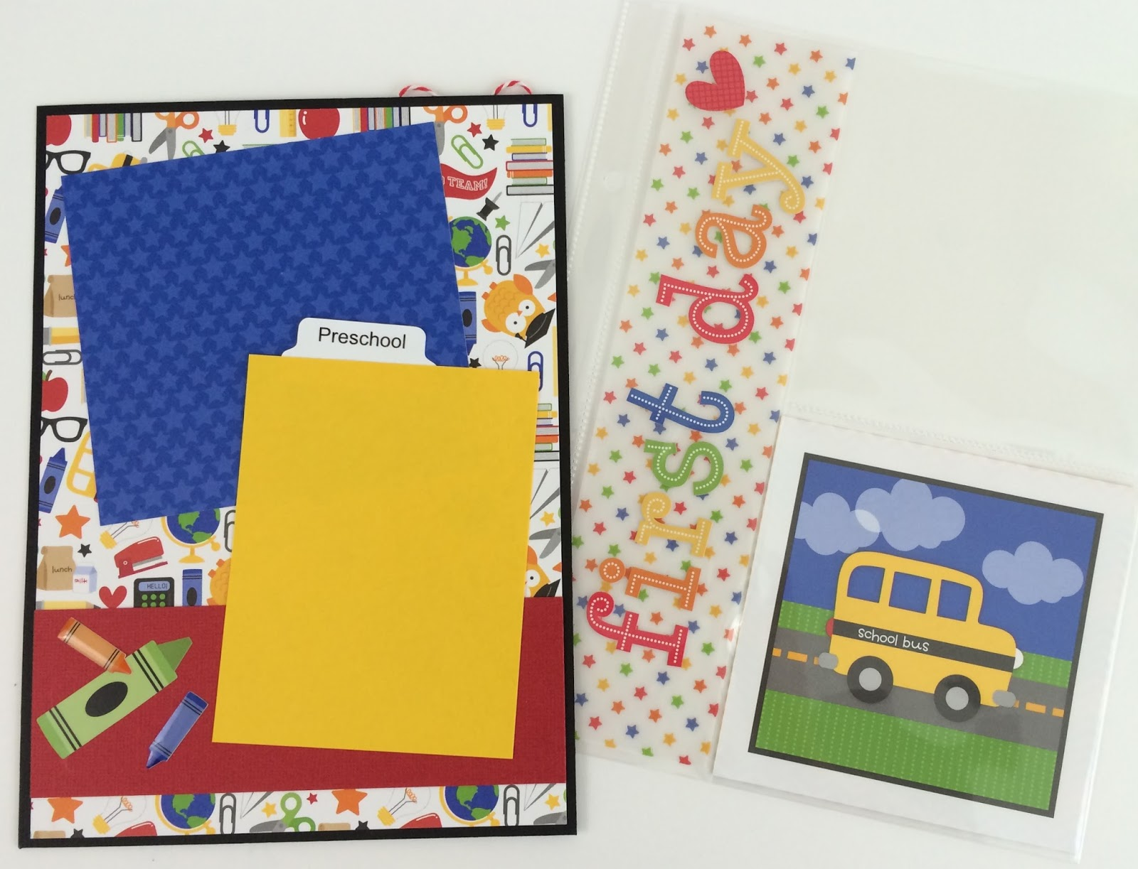 How to scrapbook school years - Fun Primary Colors Titles And Phrases And Lots Of Embellishments These Are Just A Few Of The Things That Adorn The Pages Of This Fun School Memory