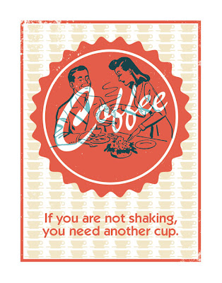 coffee illustration poster with text